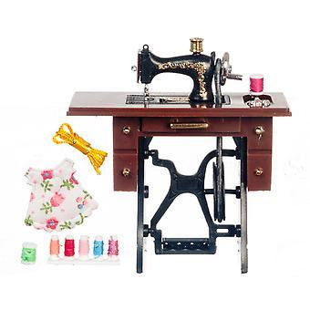 Dolls House Black Treadle Naaimachine met accessoire set