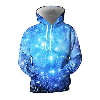 Mens 3d Colorful Galaxy Printed Blue Hoodies With Pockets