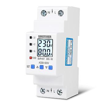 63a 80a Din Rail Adjustable Over Under Voltage Protective Device - Current