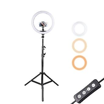 Docooler 12inch ring light with stand and phone holder, dimmable 3-color streaming light for vloggin