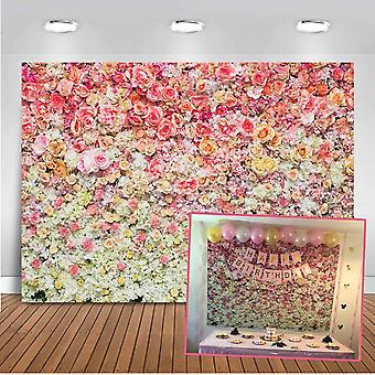 Mehofoto květinová stěna pozadí 7x5ft barevné růže květinové moře květinové fotografie pozadí pro sňatek
