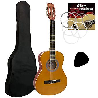 Tiger clg2 1/2 size classical spanish guitar beginners complete starter kit for ages 6-8 premium nat