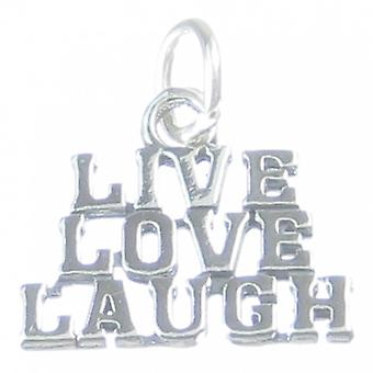 Live Love Laugh Sterling Silver Charm .925 Living Loving Laughing Charms - 3210