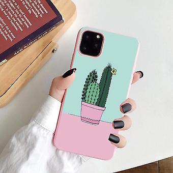 iPhone 12 & 12 Pro κέλυφος με κάκτο ροζ παστέλ χρώματα