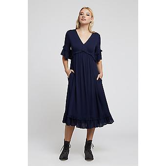 Louche Womens Eliot Solid Fluted Short Sleeve Midi Dress Navy