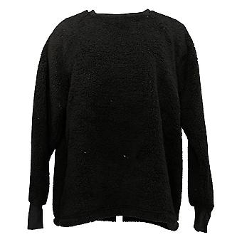 Cuddl Duds Women's Sweater Shaggy Sherpa Pullover Raglan Slv Black A381801