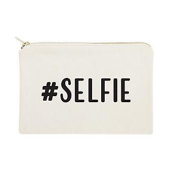 #selfie Printed Canvas Cosmetic Bag