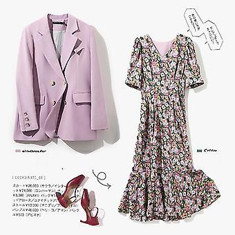 Casaco blazer e v neck manga curta vestido floral estampa