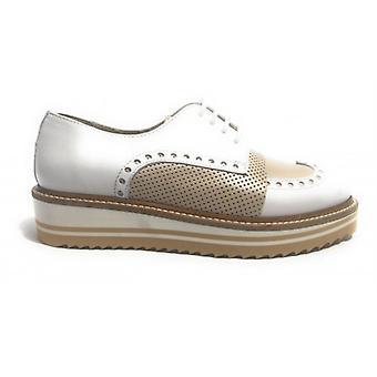 Shoes Woman Yox N. Bearded Francesina Zeppata Two-tone White Beige Ds17nb01