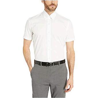 BOTONED ABAJO Hombres's Slim Fit Stretch Button-Collar manga corta no hierro...