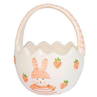 Easter Bunny Basket Hand Painted Buffet Party Serveware Tableware 13.5cm White