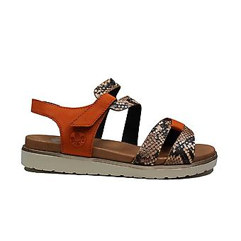 Rieker V5069-24 Brown Womens Rip Tape Sandals