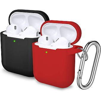 2ks ochranné pouzdra s karabinou pro Apple Airpods 2 & 1 (černá/červená)