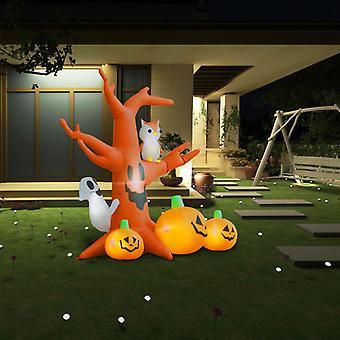 vidaXL نفخ هالوين شبح شجرة مع القرع 6 المصابيح 2.6 م