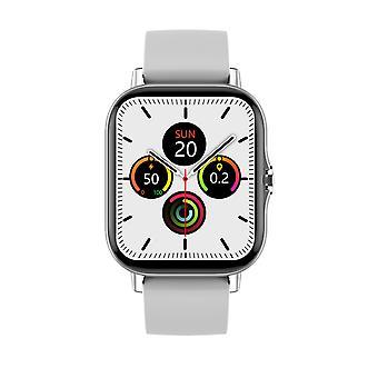 ساعة ذكية للجنسين 1.78 '' شاشة اللمس الكامل، IP67 ماء 24h معدل ضربات القلب رصد بلوتوث دعوة رسالة تذكير دائرة الروبوت-الفضة
