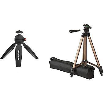 DZK PIXI Mini Tripod with Handgrip for Compact System Cameras, Black & Amazon Basics 127cm