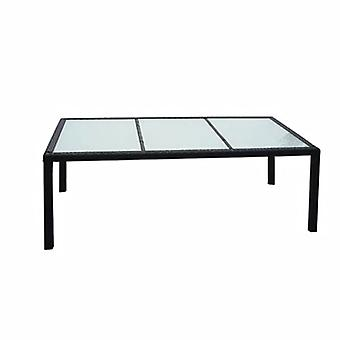 Garden Table Black 190x90x75 Cm Poly Rattan