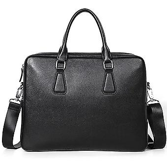 Double Zipper Leather  Briefcase