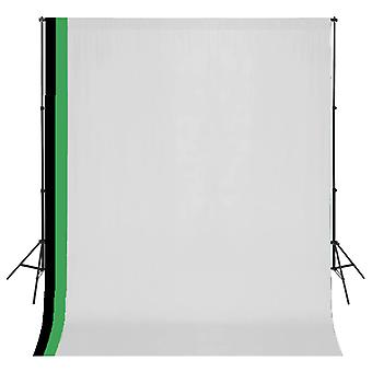 vidaXL photo studio set 3 cotton backgrounds frame adjustable 3x3m