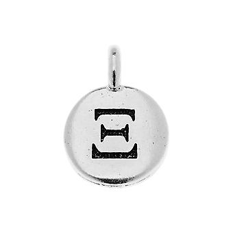 Final Sale - TierraCast Greek Alphabet Charm, Xi Symbol 16.75x11.75mm, 1 Piece, Antiqued Silver Plated