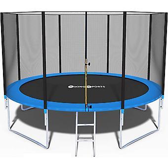 Trampolína - modrá - 374 cm - se sítí a žebříkem - do 150 KG