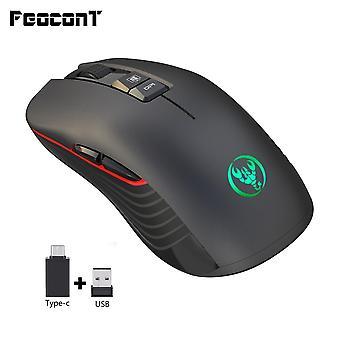 Carregamento de mouse sem fio preto silencioso, com adaptador USB, adequado para jogadores de notebook Macbook