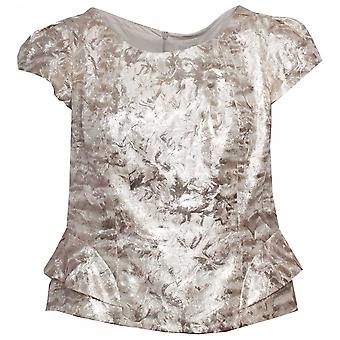 Paola Collection Gold Embossed Capped Sleeve Top
