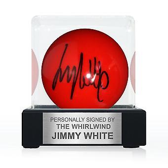 Jimmy White signerade Red Snooker Ball. I visningsfall med plakett