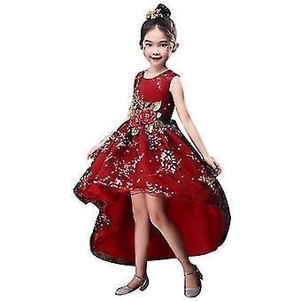 110Cm kırmızı prenses kızlar boyutu 3-14 yıl x2113 ile düğün doğum günü partisi için elbise