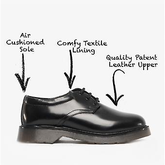 Roamers Devin Boys zapatos Derby de cuero negro brillante