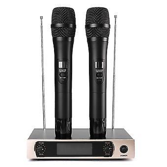 UHF trådlöst mikrofonsystem LCD-skärm dubbla handhållna mikrofonparti KTV-sladdlösa mikrofoner