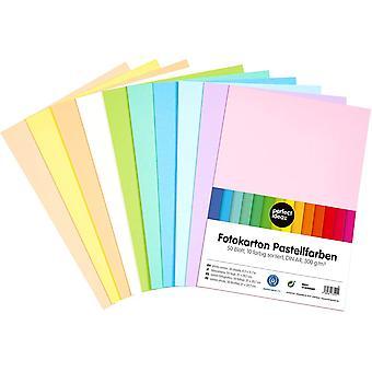50 Blatt DIN-A4 Pastell Foto-Karton bunt, Bastel-Papier, Bogen durchgefärbt, 10 verschiedene