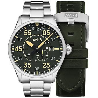 AVI-8 Av-4073-22 Mens Spitfire Automatisk Olivgrön & Silver Steel Klocka Med Läderrem