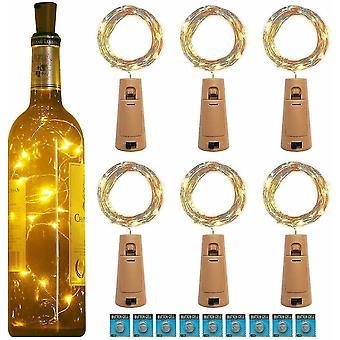 20Led Garland Koppartråd Corker Sträng Fairy Lights för Glas craft flaska (Cool White)