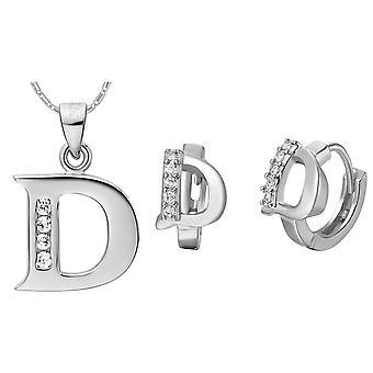 (D)  Alphabet Rhinestone Womens 26 Initial Letter Huggie Earrings Necklace Jewelry Set Silver