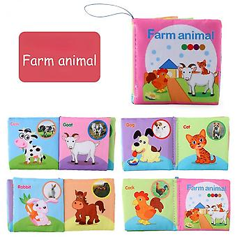 Infant Early Learning Educational Toys Children's Fabric Book 2-6 Years Old Children's English Cognitive Book-(farm Animals)