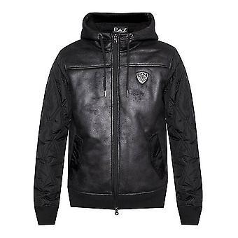 Men's Sports Jacket BOMBER JACKET Armani Jeans 6ZPBA5 PN54Z Black Leather