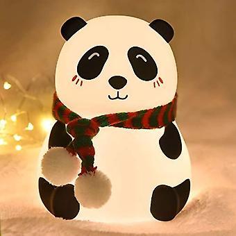Goeco LED Natlys Farverige Silikone Panda Lampe USB genopladelig