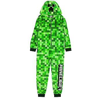 Drenge og piger | Børn Grøn Blød Pixelated Sleepsuit Med Creeper Face Hood Top og Bukser