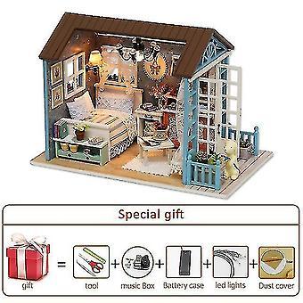 Dollhouse accessories diy miniature dollhouse kit doll house furniture handmade model room box toys for children christmas