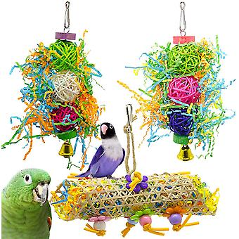 3 Pieces Bird Toys, Chew Toys, Animal Decoration Cages With Bell For Parakeets, Cockatiels, Starling, Macaw And Other Small Animals