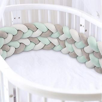 Four Strand Käsin kudottu Vauvansängyn suojakaide Lapsille Huone Yksi törmäysvastainen sisustus sängyn aita (2m harmahtava valkoinen sininen vihreä)