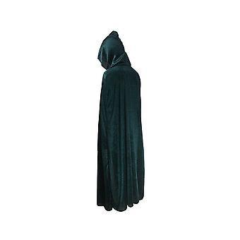 Adult Halloween Velvet Cloak Cape Hooded Medieval Costume Witch Wicca Vampire Halloween Costume Dress Coats Green