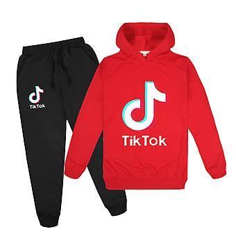 Red Tik Tok Kids Hoodie Pants Suit Girls Long Sleeve Tracksuit Sportswear Sets