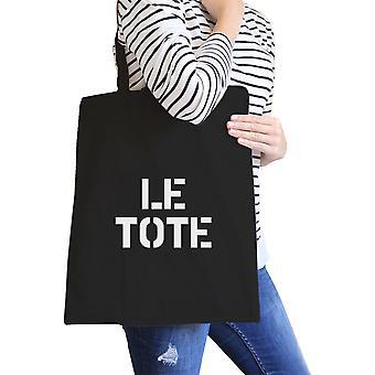 Le Tote Black Canvas Bag Unique Design Printed Cotton Eco Bags