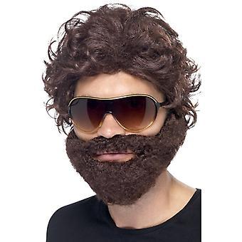 Bakrus wig med skjegg skjegg brun menns Hangoverperücke