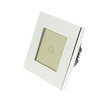 I LumoS Silver Brushed Aluminium 1 Gang 1 Way Touch Dimmer LED Light Switch Gold Insert