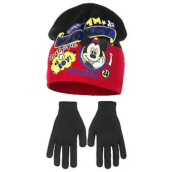 Conjunto de meninos Disney Mickey Mouse inverno Beanie chapéu e luvas