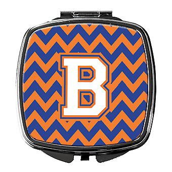 Letter B Chevron blauw en oranje #3 compacte spiegel