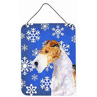 Foxterrier vintern snöflingor Holiday vägg eller dörr hängande utskrifter